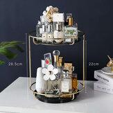 Prateleira giratória de armazenamento de cosméticos de 2 camadas - Mesa Caixa Bandeja de vidro da moda
