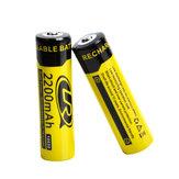 2PCSLR186503.7V2200mAhgenopladeligt lithium batteri til lommelygteværktøjer