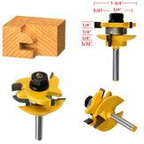 Drillpro RB15 3pcs 1/4 pouce rondes Rail Stile Router Bits coupeur de travail en bois