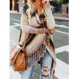 Women Striped Tessel Open Front Knitting Long Sleeve Irregular Hem Cardigan