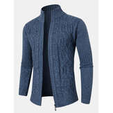Mens Cable Knitted Zipper Long Sleeve Sweater Cardigans
