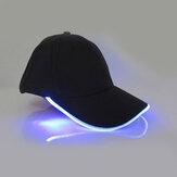 Unisex Yeni Punk Tarzı LED Lamba Beyzbol Şapkası Aydınlık Kap Moda Snapback Şapka Fiber Optik Şapka