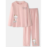 Women Cartoon Cat Print Long Sleeve Pullover Elastic Waist Pocket Pants Pink Home Pajama Set