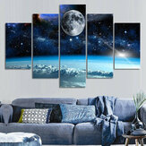 5Pcs Canvas Print Paintings Universe Wall Decorative Printing Art Pictures Frameless Wall Hanging Decorations for Home Office