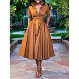 Mujer Color sólido Plisados Casual Camisa Vestido Con fajas