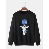Mens Astronaut Letter Printing Cotton Crew Neck Casual Sweatshirts