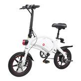 [EU Direct] DYU D3 + 10Ah 240W 36V Vélo électrique pour cyclomoteur pliant 14 pouces 25 km / h Vitesse maximale 70 km Kilométrage Système de freinage double intelligent Charge maximale 120 kg Blanc