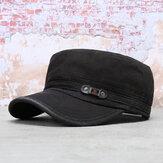 Cappello a cilindro piatto in cotone lavato da uomo Collrown Protezione solare da esterno Cappello da papà con visiera militare