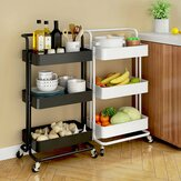 Multifunctional 3-Tier Storage Rack Trolley Rolling Utility Cart Home Kitchen Storage Rack