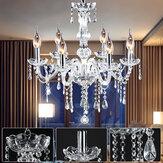 Candelabro de decoração elegante com vela de cristal 6 cabeças E14 Pingente Luz de teto 110-240V sem lâmpadas