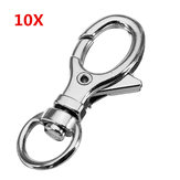 10Pcs 32mm Silver Zinc Alloy Oval Swivel Lobster Claw Clasp Snap Hook with 8.5mm Round Ring
