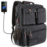 Canvas Travel Backpack Casual Big Capacity Men's Bag With USB Port & Laptop Compartment