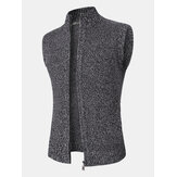 Mens Knit Zip Front Casual Sleevless Vests With Slant Pocket