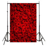 5x7ft Vinyl Valentine's Day Red Rose Fotografía de fondo Photo Studio Prop Backdrop
