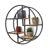 4 Tiers Round Wall Mouting Shelf Vintage Retro Wood Metal Shelf Storage Rack Floating Shelves for Home Office Bedroom Living Room Kitchen