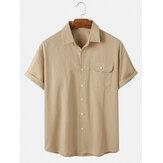 Cotton Mens Nút màu rắn lên áo sơ mi ngắn tay giản dị có túi