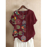 Floral Print Patchwork O-neck Short Sleeve Button Vintage T-shirts For Women