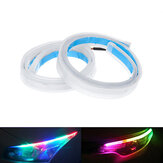 2X RGB 60CM APP LED DRL Slim Flexible Daytime Running Strip Light For Headlight