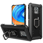 Bakeey for Xiaomi Redmi Note 9S / Xiaomi Redmi Note 9 Pro Case Carbon Fiber Pattern Armor Shockproof Anti-fingerprint with 360° Rotation Magnetic Ring Bracket PC Protective Case Non-original