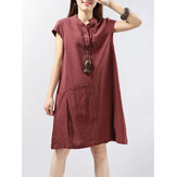 Women Short Sleeve Button Solid Color Casual Dress