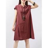 Botón de manga corta para mujer Color sólido Casual Vestido