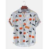 メンズハロウィンおかしいカボチャ猫プリント高低裾半袖シャツ