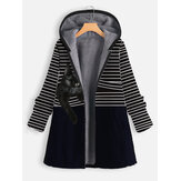 Women Cat Striped Print Thick Casual Zipper Front Hooded Plus Size Coat