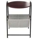 Removable Side Table Bedside Cupboard Nightstand Laptop Desk Round Tea Table With Storage Basket Table