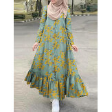 Women Cotton Floral Print Holiday Ruffles Hem Button Down Robe Contrast Color Maxi Dress