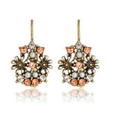 Retro Rhinestone Flower Earrings