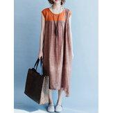 S-5XL Women Sleeveless Patchwork Loose Casual Irregular Hem Dress