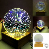 3D USB Magic Base Glass Ball Sphere Lightning Lamp Night Light Party Festival Firework