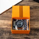 3 unidades / conjunto conjunto de relógio masculino em aço Banda relógio de quartzo com pulseira de couro ajustável kit de joias para namorado