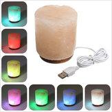 USB cilindrica naturale elettrico Lampada di sale Crystal Rock purificatore d'aria tavolo luminoso