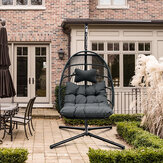 Swing Chair with Stand and Dark Grey Chair Pad Outdoor Wicker Tear Drop Hanging Lifts