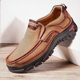 Men Genuine Leather Vintage Casual Business Office Soft Walking Loafers