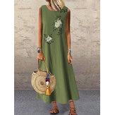 Kadın Yaz Vintage Çiçek Baskı Kolsuz Gevşek Maxi Elbise Cepli