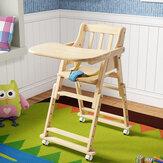 Cadeira de jantar para crianças de 6 meses Cadeira de bebê com 4 rodas e ajuste de altura de 4 engrenagens