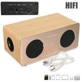 Wooden Dual MIC Handsfree AUX HIFI Wireless Bluetooth Speaker For iPhone Samsung