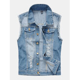 Mens Fashion Denim Double Pockets Turn Down Collar Casual Vest