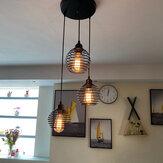 Lampe suspendue industrielle à 3 lampes au plafond, en métal, en cage, sans ampoule