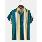 Thời trang nam nhiều nút sọc xuống áo sơ mi cổ áo