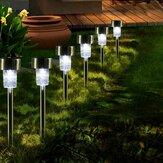 16pcs LED Solar Lámparas de jardín de acero inoxidable Jardín al aire libre Luz de trayectoria de paisaje