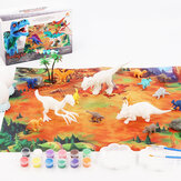 38Pcs Jungle Wildlife Animal Diecast Dinosaur Model Puzzle Drawing Early Education Set Toy for Kids Gift