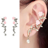 Elegant Pink Flower Womens Cuff Earring Silver Gold Color