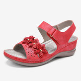 LOSTISY Dames Hook Loop Flower Decro Open teen comfortabele sleehak sandalen