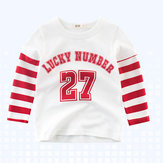 Boys Kids Sport Lucky Number Print Striped Patchwork T-Shirt