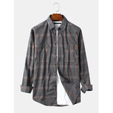 Mens Plaid Dual Pockets Long Sleeve Casual Check Shirts