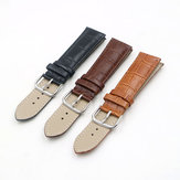 22mm Genuine Leather Strap Band Bamboo Grain For Bulova Watch Black / Brown