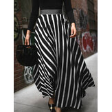 Stripe Print Elastic Waist Back Zipper Leisure Maxi Skirts